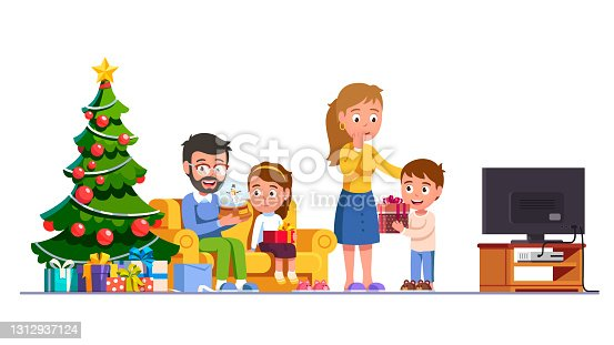istock Family parents unwrapping New Year presents together celebrating holidays. Mother, father unpacking gift boxes kids gifted. Boy & girl giving Marry Christmas gifts. Flat vector character illustration 1312937124