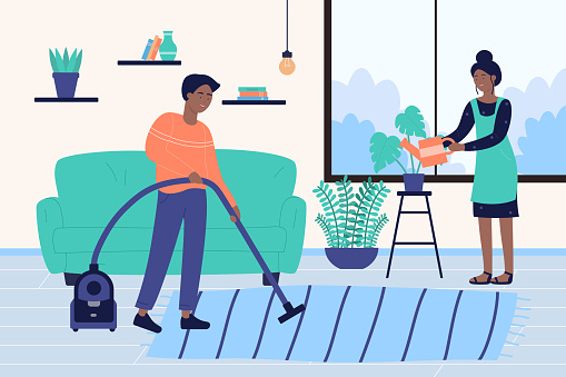 Family people clean house, cartoon characters cleaning room, working in household together