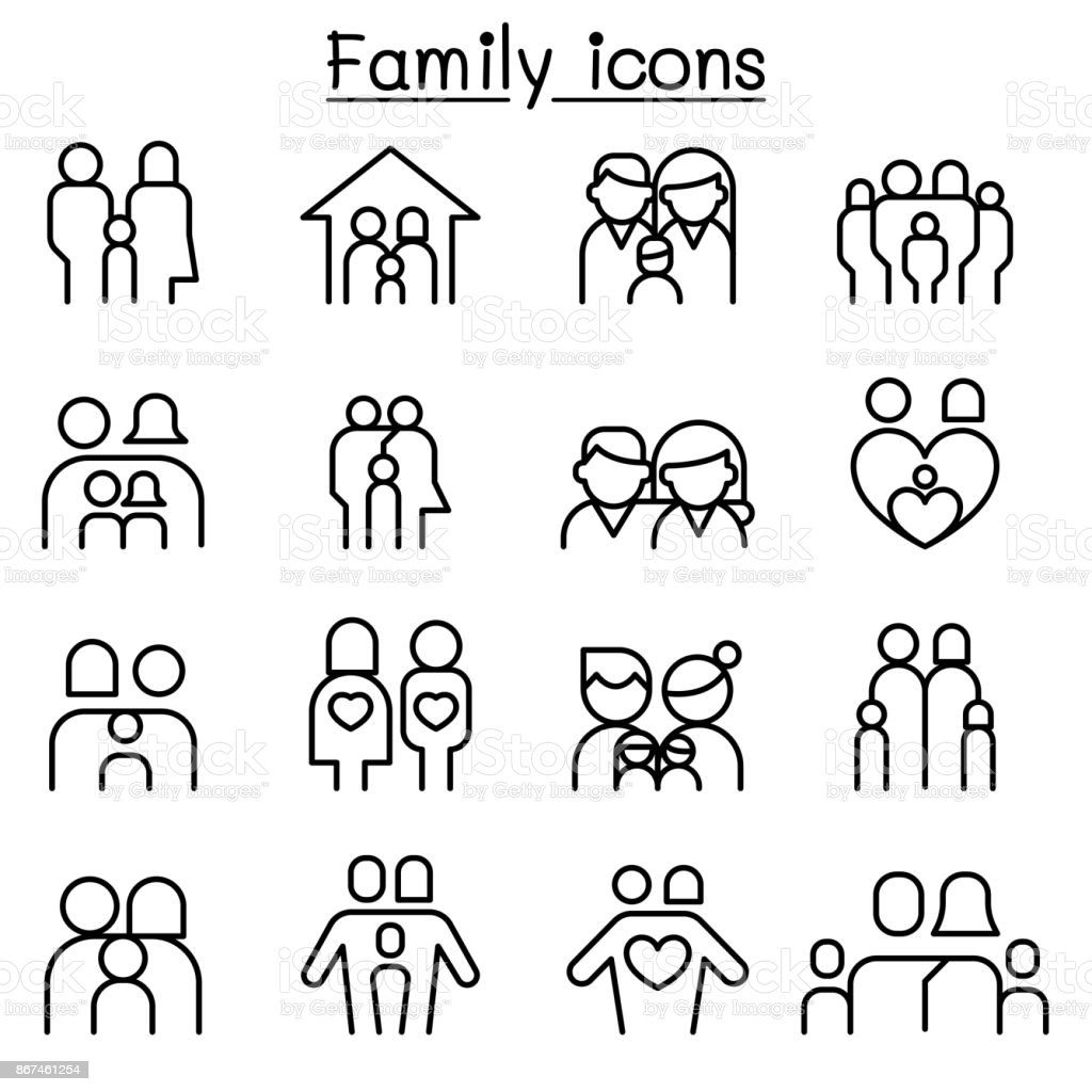 Family & People icon set in thin line style vector art illustration