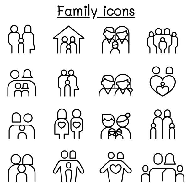 Family & People icon set in thin line style Family & People icon set in thin line style children only stock illustrations