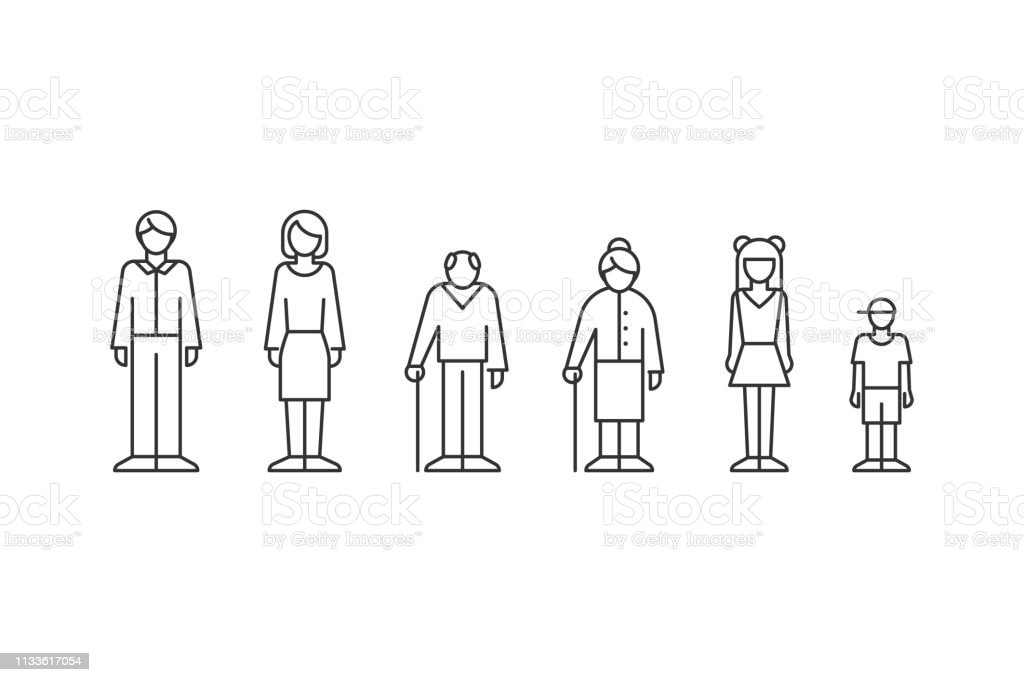 Family, people of different ages outline style - Royalty-free Acontecimentos da Vida arte vetorial