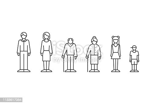 istock Family, people of different ages outline style 1133617054