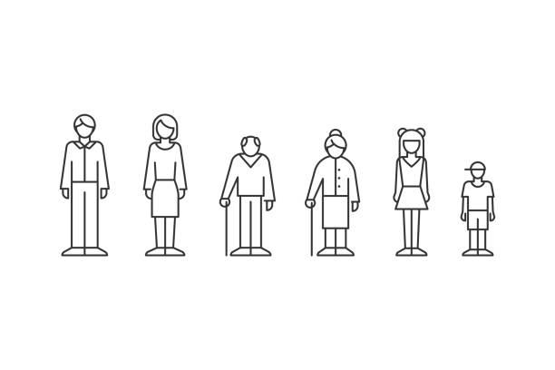 ilustrações, clipart, desenhos animados e ícones de família, povos do estilo diferente do esboço das idades - aposentadoria