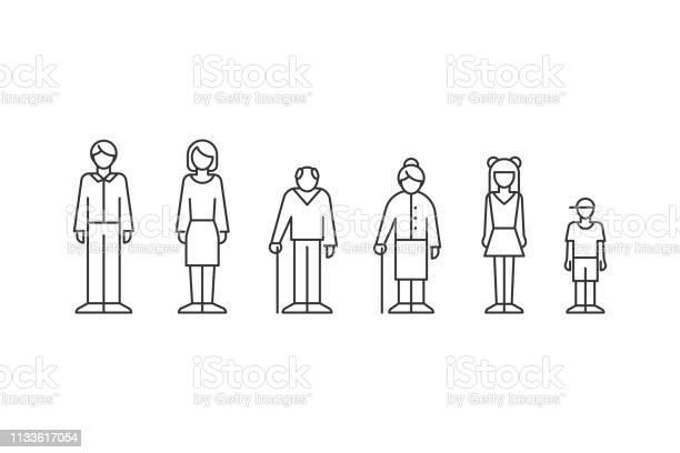 Family People Of Different Ages Outline Style - Arte vetorial de stock e mais imagens de Acontecimentos da Vida