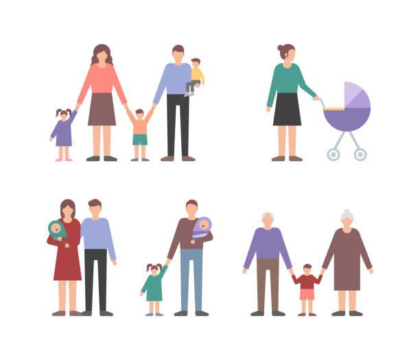 ilustraciones, imágenes clip art, dibujos animados e iconos de stock de familia personas set vector ilustración estilo plano - nietos