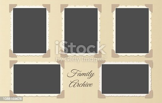 Family photo album collage. Retro photos page template vector illustration, vintage blank photo frames old style layout
