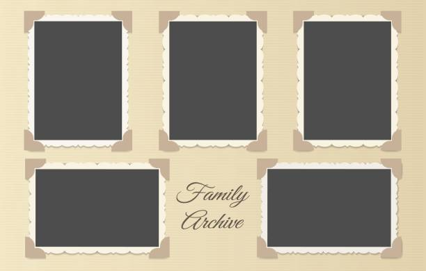 Family photo album collage Family photo album collage. Retro photos page template vector illustration, vintage blank photo frames old style layout scrapbook stock illustrations
