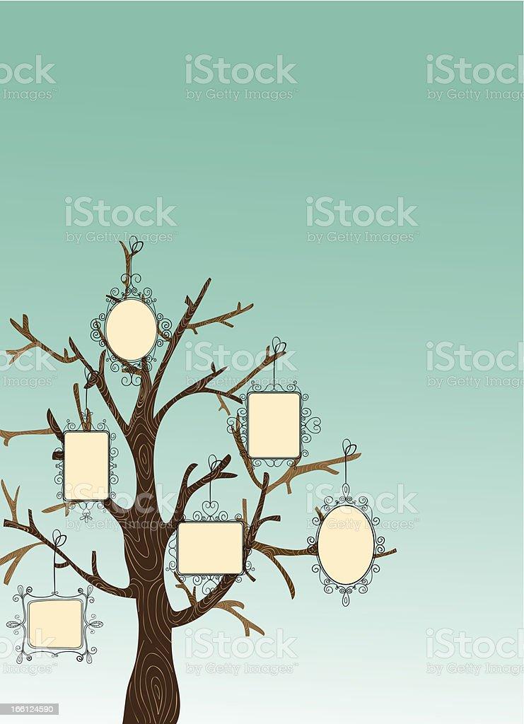 Family photo frame tree royalty-free stock vector art