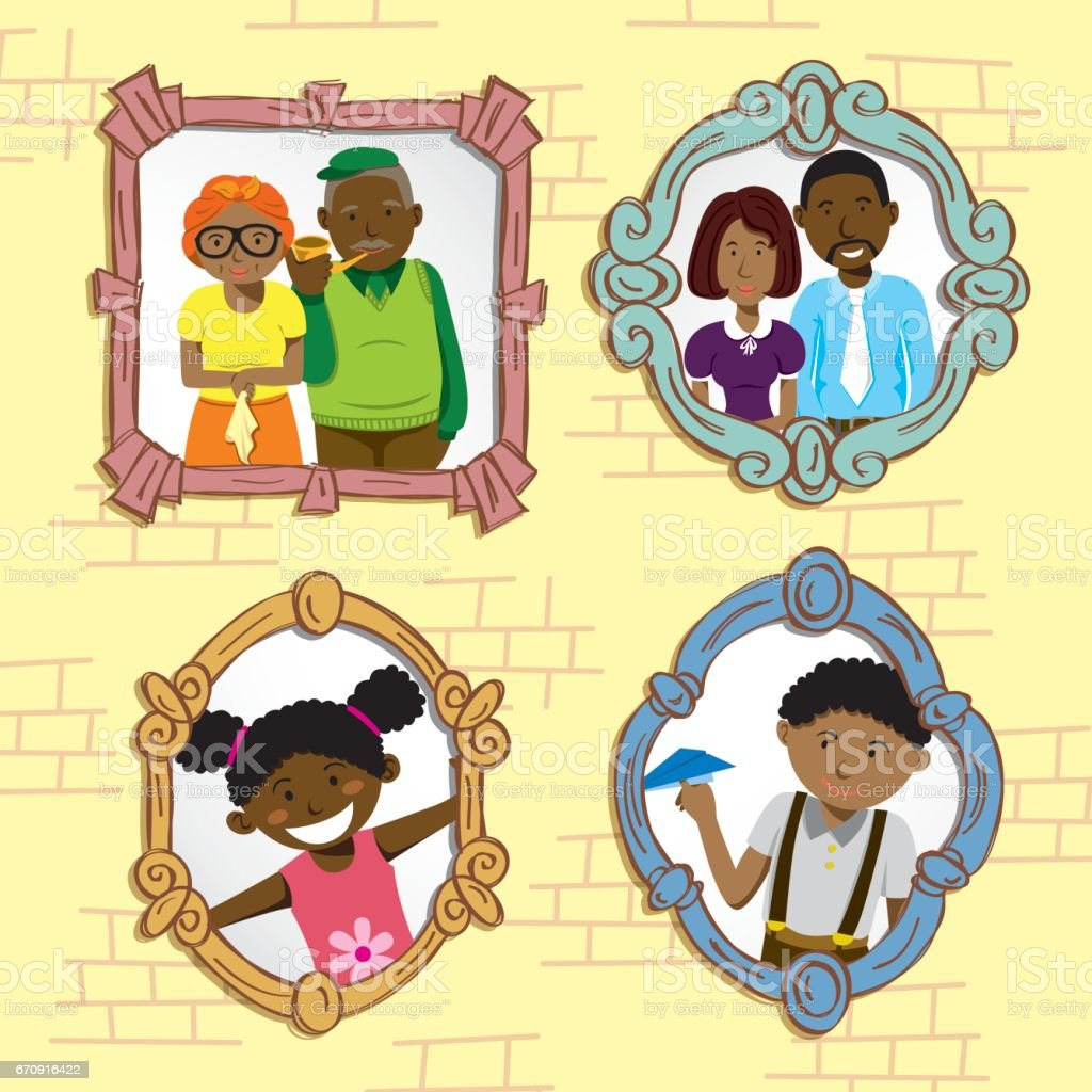 Family photo on vintage frame vector art illustration