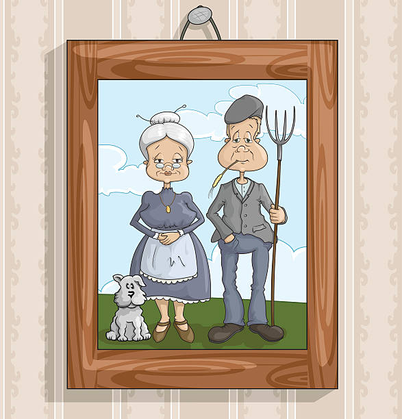 family photo - old man pic cartoons stock illustrations, clip art, cartoons, & icons