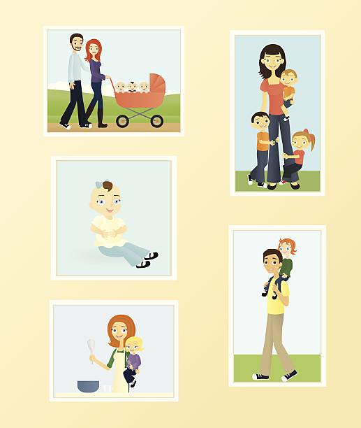 Family Photos vector art illustration