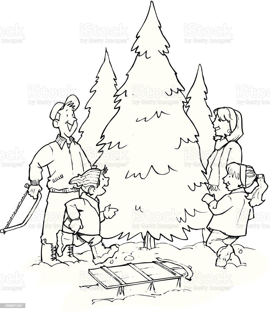 Family Picking Tree vector art illustration