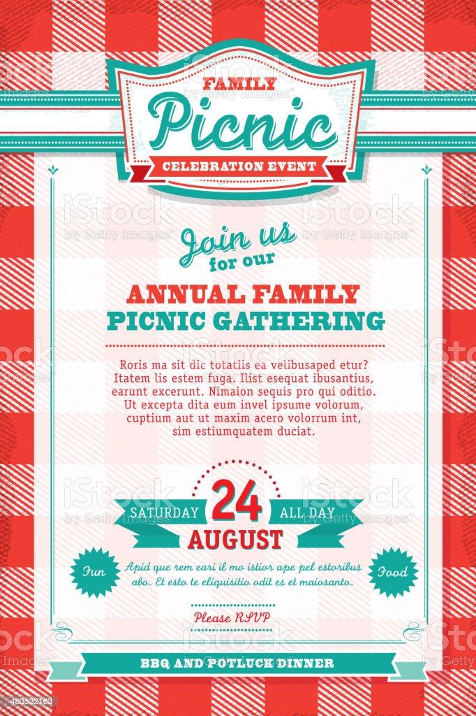 family picnic celebration tablecloth invitation design template