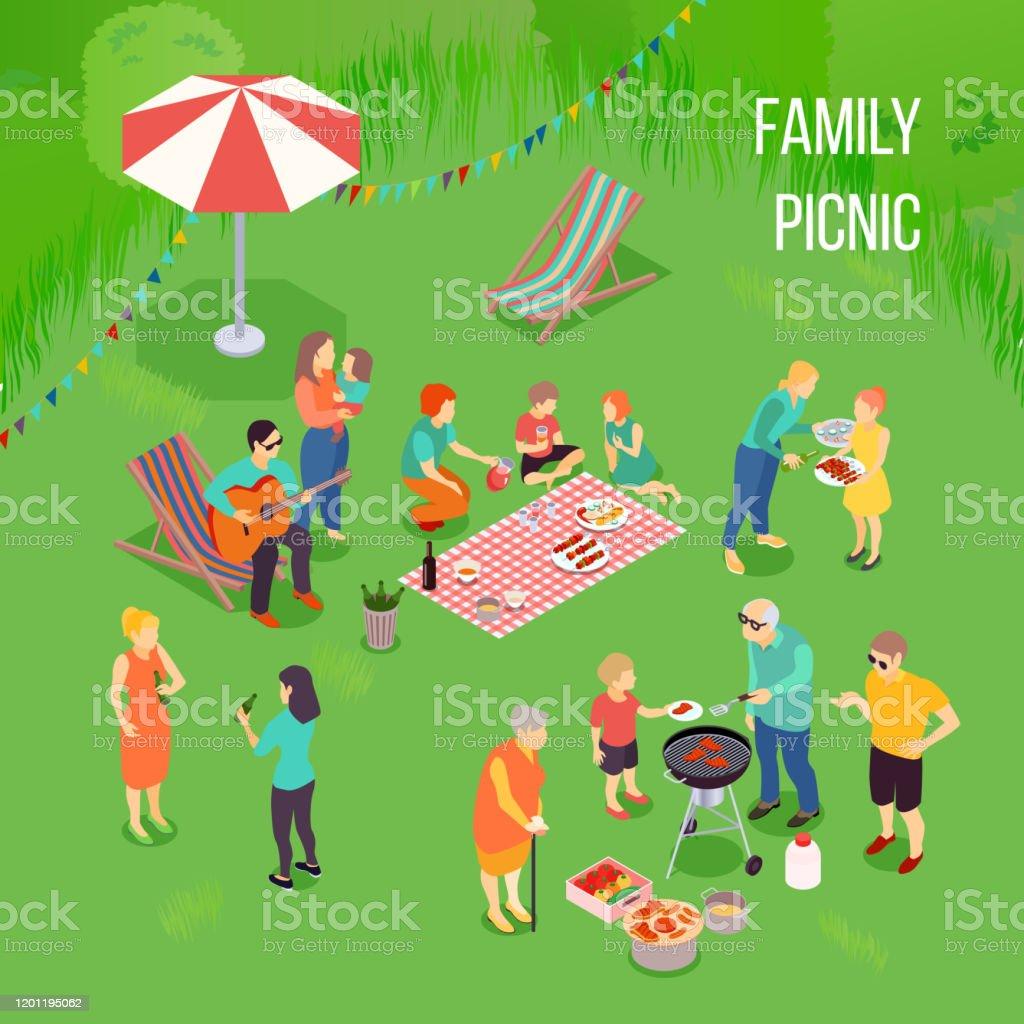 family picnic illustration - Grafika wektorowa royalty-free (1970-1979)