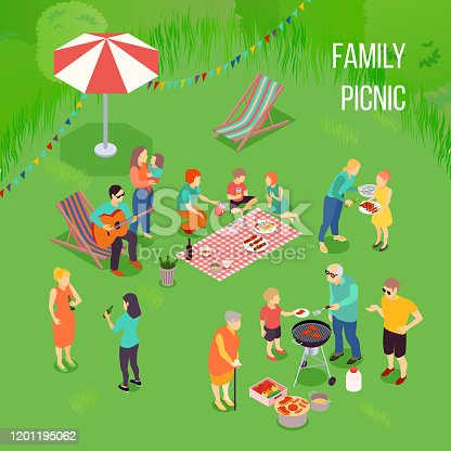 Family picnic with kids and adults, grill equipment, food on blanket on green background isometric vector illustration