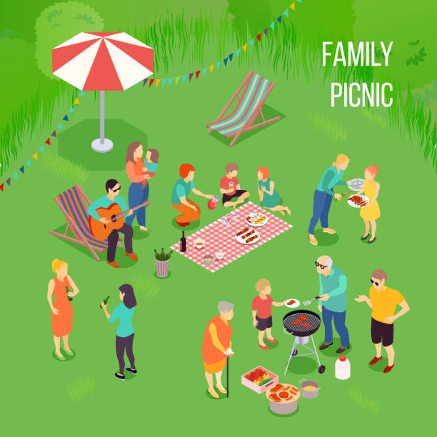 stockillustraties, clipart, cartoons en iconen met familie picknick illustratie - grassenfamilie