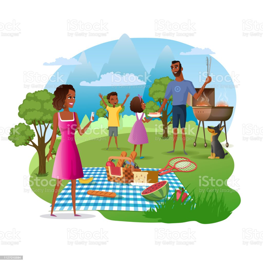 royalty free family bbq vector silhouette clip art vector