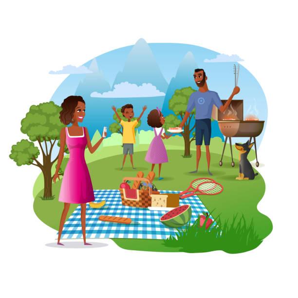 Family Picnic in National Park Cartoon Vector vector art illustration