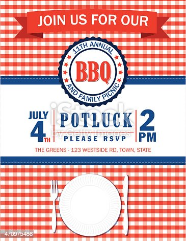 Checkered tablecloth with BBQQ invitation. There is a banner at the top to add text on. There is a round label for a date and a aper plate at he bottom with a fork and knife. Red, white and Blue