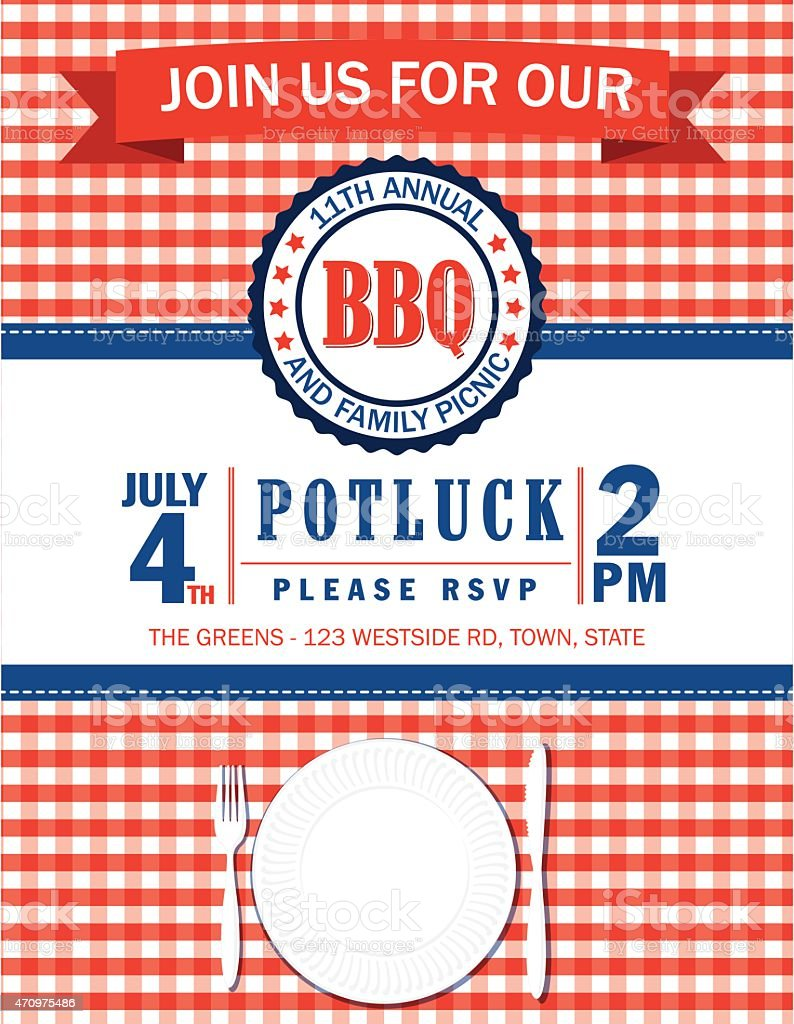 Family Picnic Invitation Template With Checked Tablecloth vector art illustration