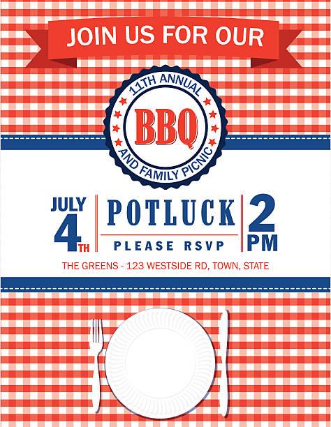 familie picknick-einladung vorlage mit aufgegebenes tischtuch  - plastikteller stock-grafiken, -clipart, -cartoons und -symbole