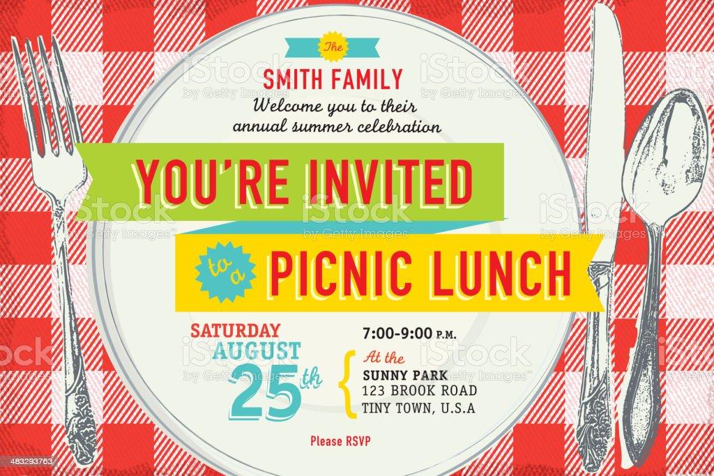 familie picknick einladung designvorlage vektor illustration, Einladung