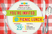 Vector illustation of Retro style family picnic lunch gathering invitation design template. Includes Sample text design and elements, full table cloth background on separate layer, plate, fork, knife and spoon all fully rendered (cropped with clipping mask). Bright colors and lot's of texture. Download includes Illustrator 10 eps with transparencies, high resolution jpg and png file.