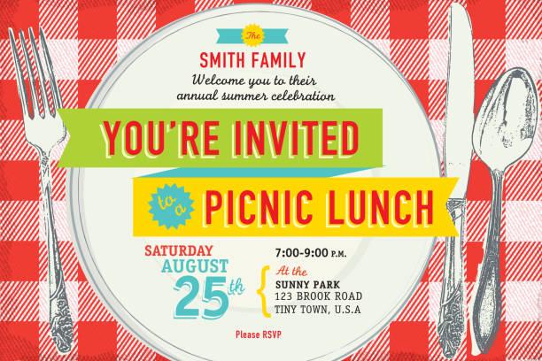 ilustraciones, imágenes clip art, dibujos animados e iconos de stock de familia almuerzo campestre diseño de plantilla de la invitación - picnic