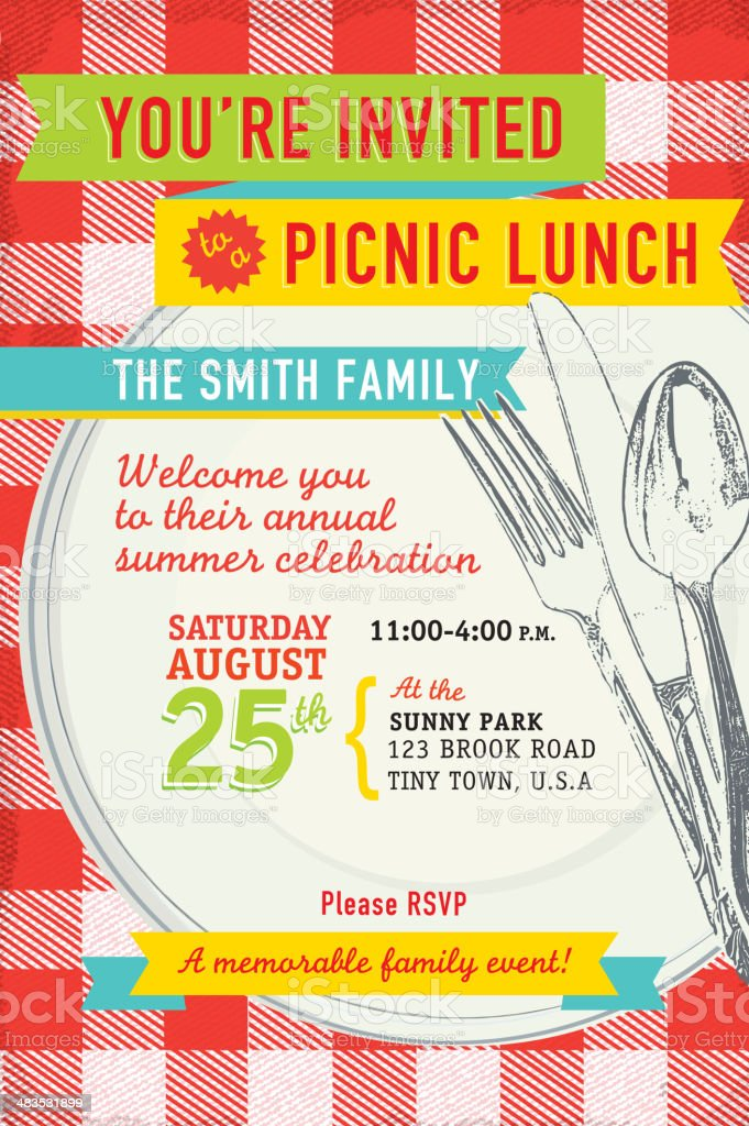 Family picnic lunch with antique placesetting invitation design template vector art illustration