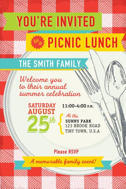 ilustraciones, imágenes clip art, dibujos animados e iconos de stock de familia disfrute de un almuerzo con antigüedades de distribución para diseño de plantilla de la invitación - picnic