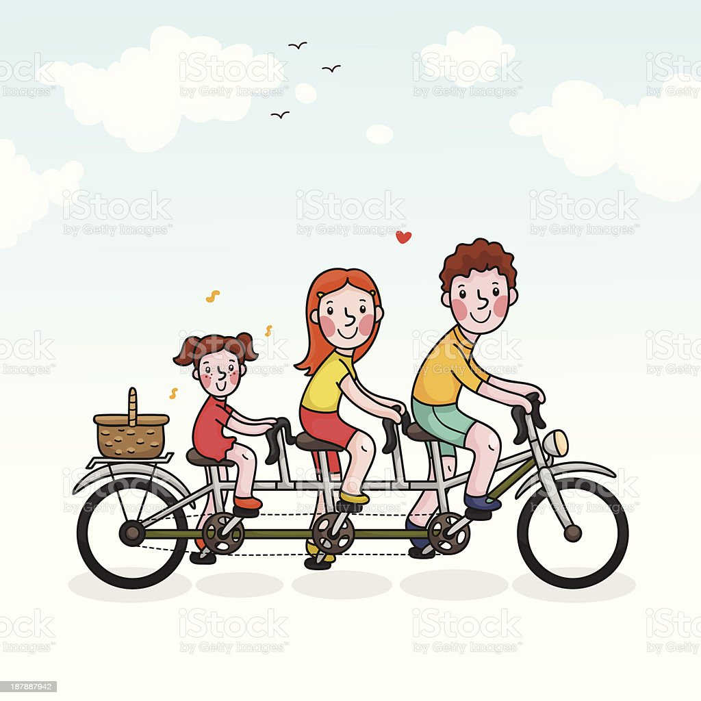 Family picnic parents and daughter tandem bicycle royalty-free family picnic parents and daughter tandem bicycle stock vector art & more images of adult