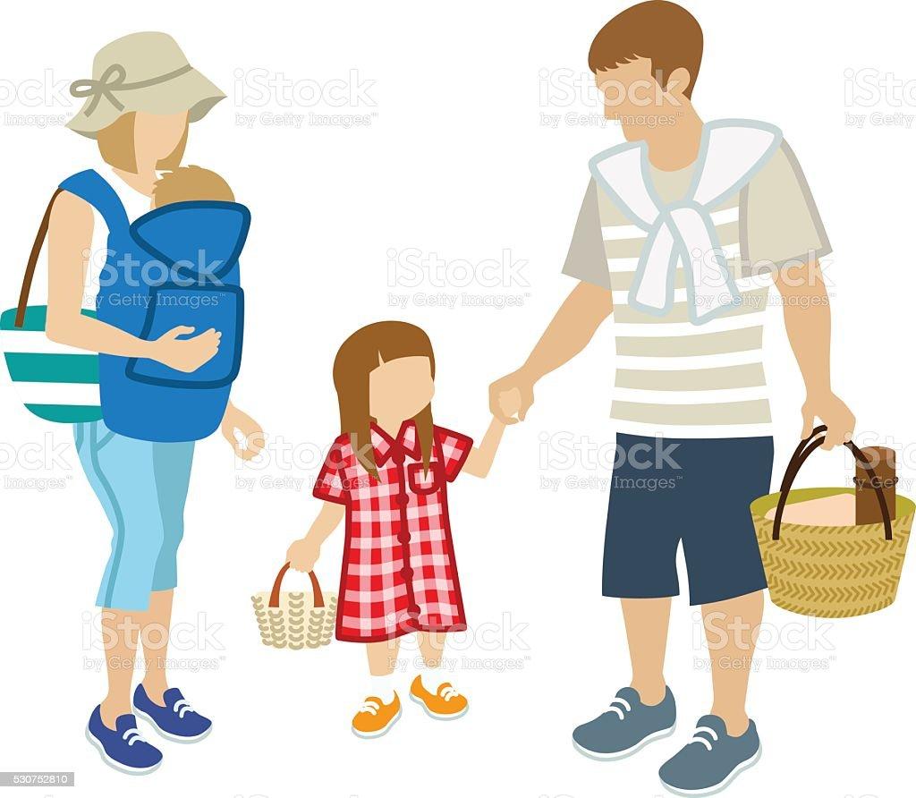 Family picnic - Summer Clothing - clip art vector art illustration