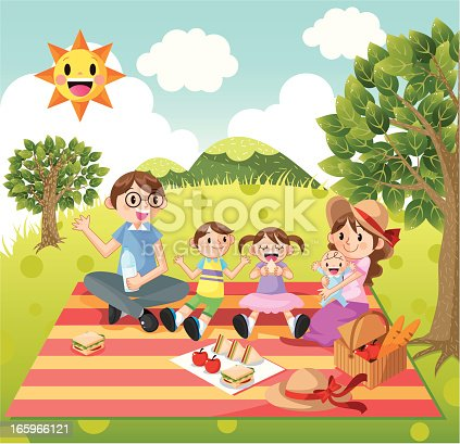 Happy Family picnic,vector illustration