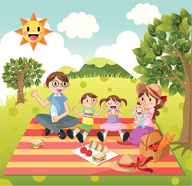 Family picnic Happy Family picnic,vector illustration female sandwich stock illustrations