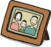 family picture in wooden frame, there are mother, father and son / cartoon vector and illustration, isolated on white background.