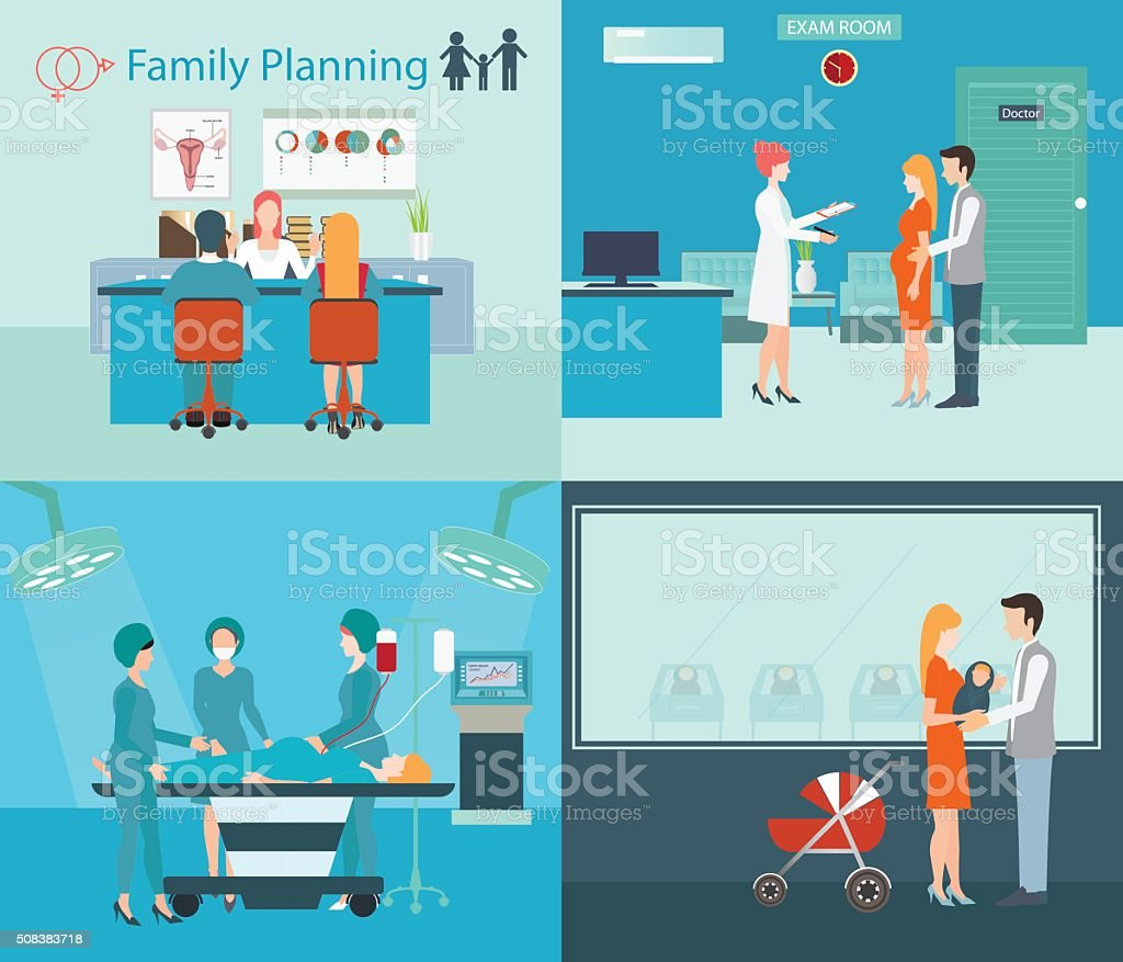 family planning at the hospital. vector art illustration