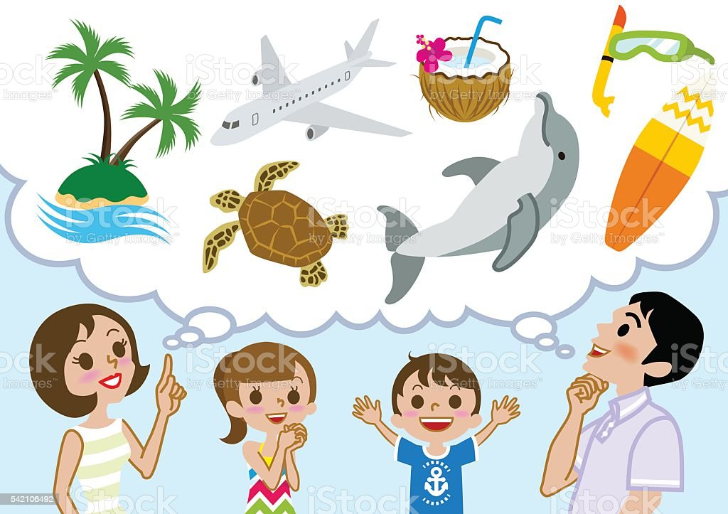 Family Planning Happy Summer Vacations Royalty Free Stock Vector Art