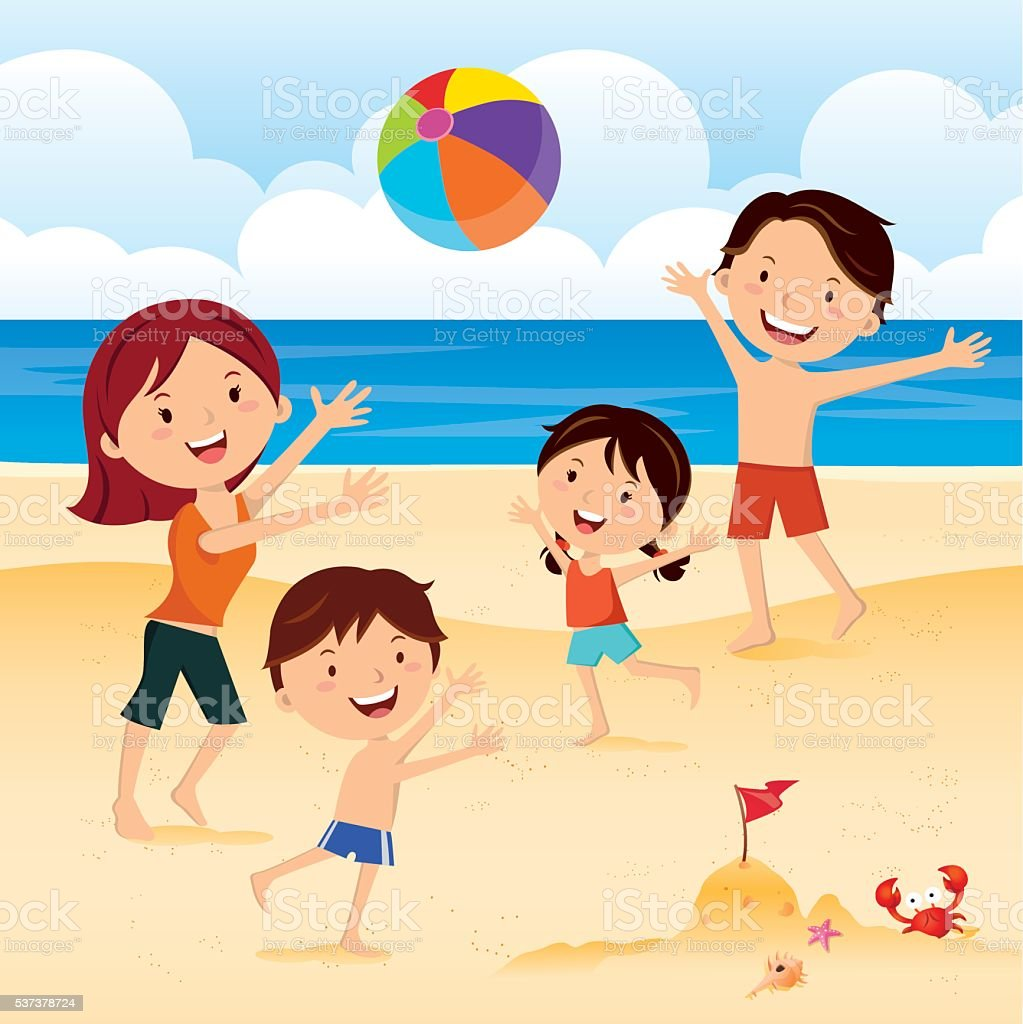 Family playing ball at the beach vector art illustration