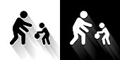 Family Playing  Black and White Icon with Long Shadow. This 100% royalty free vector illustration is featuring the square button and the main icon is depicted in black and in white with a black icon on it. It also has a long shadow to give the icons more depth.