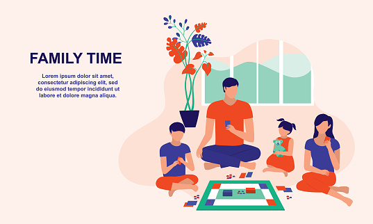 Family Playing Board Games Together At Home During Weekend. Family Moments And Parenting Concept. Vector Flat Cartoon Illustration.