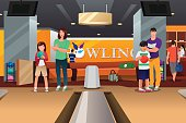A vector illustration of happy family playing bowling together
