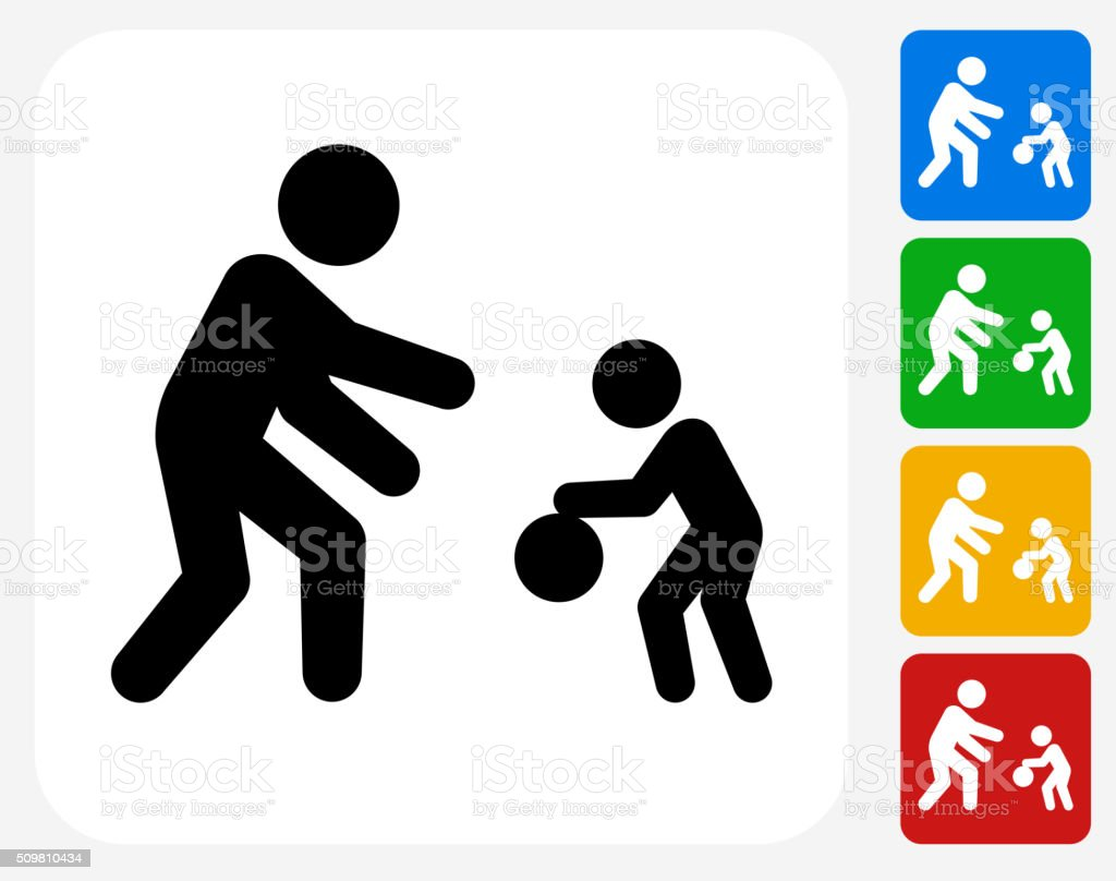Family Playing Icon Flat Graphic Design vector art illustration