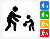 Family Playing Icon Flat Graphic Design