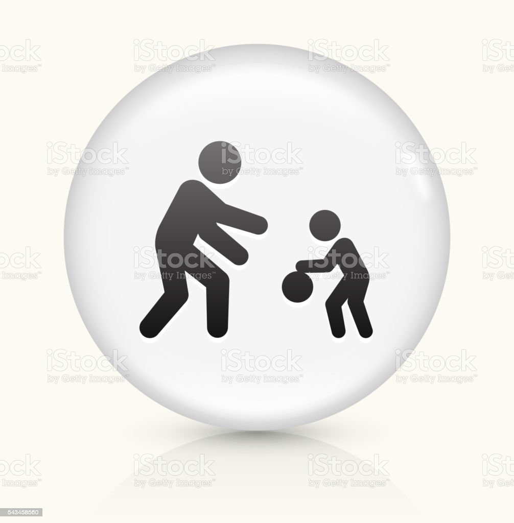 Family Playing icon on white round vector button vector art illustration