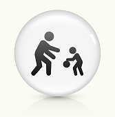 Family Playing icon on white round vector button