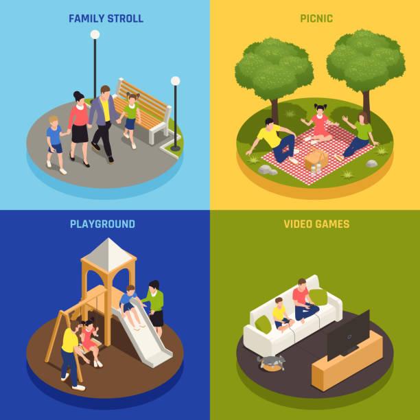 stockillustraties, clipart, cartoons en iconen met familie spelen isometrische mensen 2x2 - board game outside