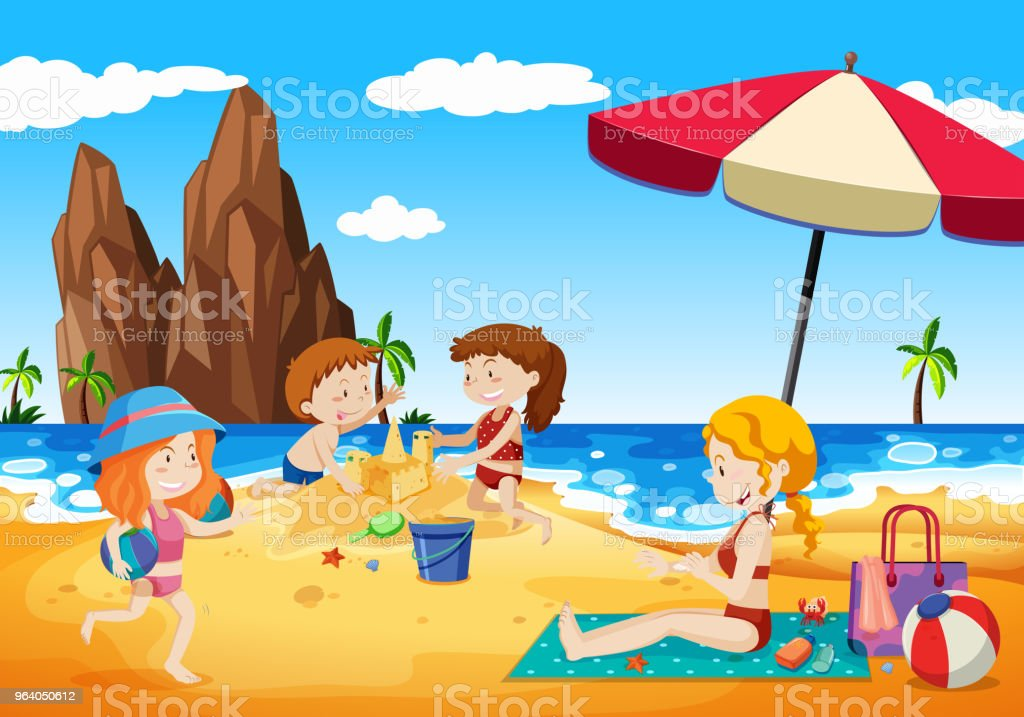 Family Playing next to the Beach - Royalty-free Adult stock vector