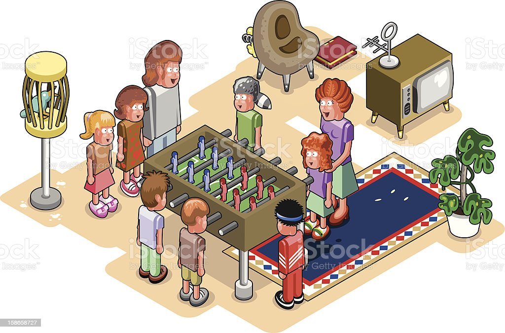 Family playing table soccer in living room (vector) vector art illustration