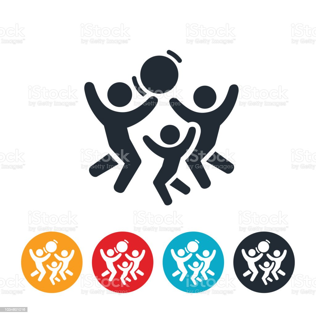 Family Playing Together Icon vector art illustration