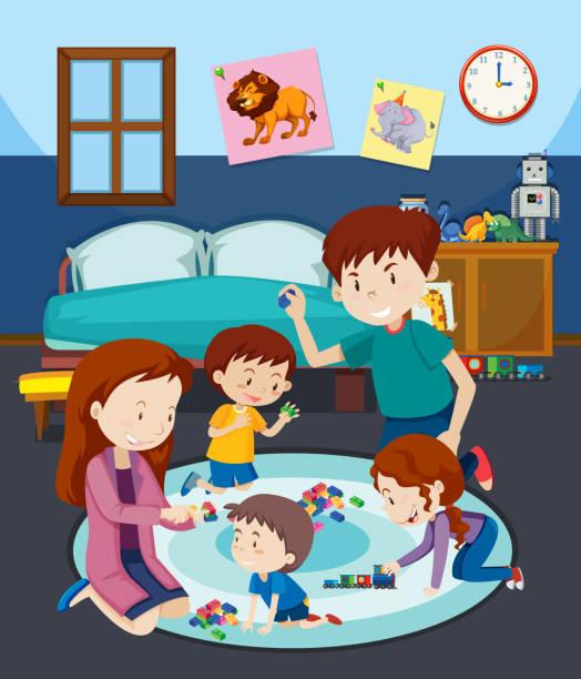 bildbanksillustrationer, clip art samt tecknat material och ikoner med en familj som spelar leksak med barn - cosy pillows mother child